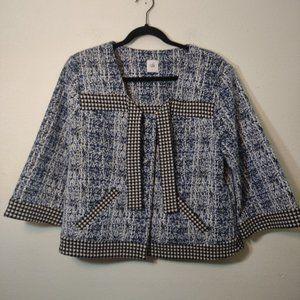 Cabi #5294 Blue & White Cropped Blazer Jacket L